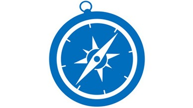 illustration of a compass: course change concept